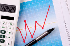 Calculator and Graph Stock Image