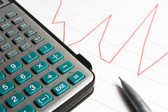 Calculator on the graph Stock Photography
