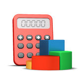 Calculator and graph Royalty Free Stock Images