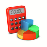 Calculator and graph. 3d render business graph and calculator Royalty Free Stock Images