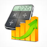 Calculator & graph Royalty Free Stock Images