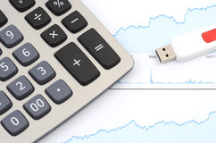 Calculator And Graph - Online Commerce Concept Royalty Free Stock Photo