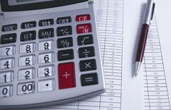 Calculator graphics pen royalty free stock photography