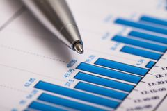 Calculator. Graphs research blue calculating market funds Royalty Free Stock Photo