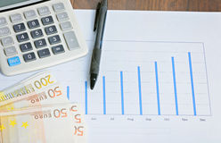 Calculator, graphyc, pen on the table Royalty Free Stock Images