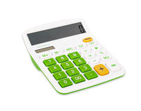 Calculator with green button. Royalty Free Stock Photography