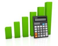 Calculator and green graph diagram. Concept: calculator and green growing graph diagram on white glossy plane Royalty Free Stock Photos