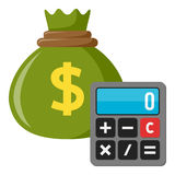 Calculator & Green Sack of Money Flat Icon Royalty Free Stock Images
