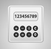 Calculator grey. Calculator grey with yellow button, cartoon. Reduced. Realistic Royalty Free Stock Image