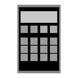 Calculator with grey buttons. Black and grey calculator  illustration flat style design Royalty Free Stock Photo
