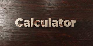 Calculator - grungy houten krantekop op Esdoorn - 3D teruggegeven royalty vrij voorraadbeeld Stock Fotografie