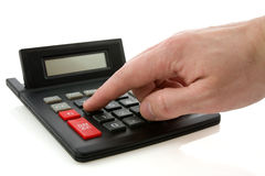Calculator and hand Royalty Free Stock Photos