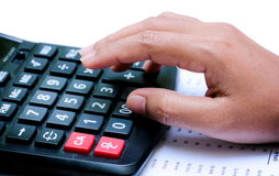 Calculator on hand Royalty Free Stock Photos