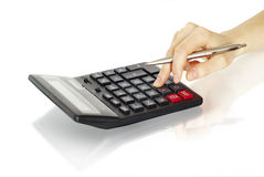 Calculator with hand Royalty Free Stock Photo
