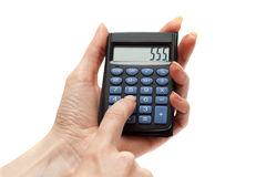 Calculator in hand 555 Royalty Free Stock Image