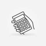 Calculator in hand icon Stock Photos