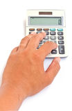 Calculator with hand isolated Royalty Free Stock Image