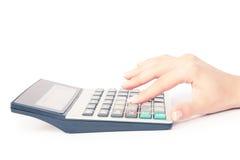 Calculator with hand Stock Photos