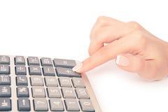 Calculator with hand Stock Photo