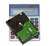 Calculator and hard disk Stock Images