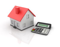 Calculator and House. Three dimensional illustration of Calculator and House Royalty Free Stock Photos