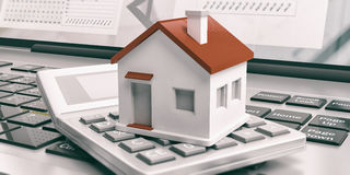 Calculator and house on a laptop. 3d illustration Stock Photos