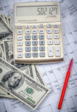 Calculator with hundred dollar bills Royalty Free Stock Image