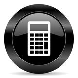Calculator icon. Black circle web button on white background Royalty Free Stock Photography