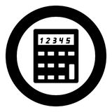 Calculator  icon black color in circle or round. Vector illustration Stock Image