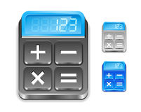Calculator icon. Black, silver and blue color. Royalty Free Stock Photos