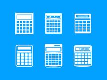 Calculator icon blue set vector. Calculator icon set. Simple set of calculator vector icons for web design isolated on blue background Stock Images
