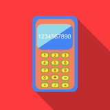 Calculator icon in flat style. On a red background Royalty Free Stock Photos
