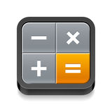 Calculator icon. With four buttons on white background Stock Photo