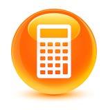 Calculator icon glassy orange round button Stock Photos