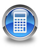 Calculator icon glossy blue round button Stock Images