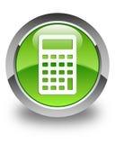 Calculator icon glossy green round button Stock Image