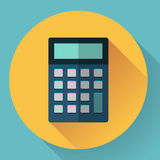 Calculator icon with long shadow. Flat style Royalty Free Stock Photography