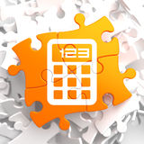 Calculator Icon on Orange Puzzle. Royalty Free Stock Photography
