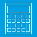 Calculator icon, outline style. Calculator icon blue outline style isolated vector illustration. Thin line sign Royalty Free Stock Photos