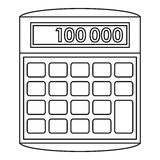 Calculator icon, outline style Stock Photo