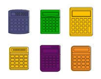 Calculator icon set, color outline style. Calculator icon set. Color outline set of calculator vector icons for web design isolated on white background Royalty Free Stock Image