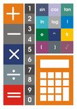 Calculator icon set in colour Stock Photos