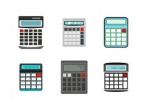 Calculator icon set, flat style. Calculator icon set. Flat set of calculator vector icons for web design isolated on white background Royalty Free Stock Images