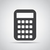 Calculator icon with shadow on a gray background. Vector illustration Royalty Free Stock Photo