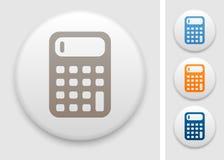 Calculator icon. Calculator symbol on round button Royalty Free Stock Image