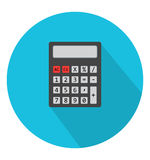 Calculator icon in trendy flat style. Web site page and mobile app design element. Flat design in stylish colors. Isolated. Long Shadow. Simple circle icon Royalty Free Stock Images