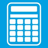 Calculator icon white. Isolated on blue background vector illustration Royalty Free Stock Photo