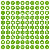 100 calculator icons hexagon green. 100 calculator icons set in green hexagon isolated vector illustration Stock Photo