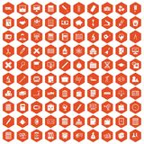 100 calculator icons hexagon orange. 100 calculator icons set in orange hexagon isolated vector illustration Royalty Free Stock Image