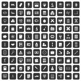 100 calculator icons set black. 100 calculator icons set in black color isolated vector illustration Royalty Free Stock Image